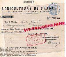 79- CHAMPDENIERS-75- PARIS - AGRICULTURE-RARE RECU SOCIETE AGRICULTEURS DE FRANCE- PAUL JACOB-1887-21 AVENUE OPERA - Agriculture