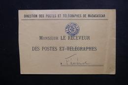 MADAGASCAR - Enveloppe De La Direction Des PTT De Tamatave Pour Ténérive En 1909 - L 49641 - Madagaskar (1889-1960)