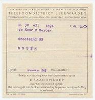 Sneek 1963 - Kwitantie Draadomroep - 1891-1948 (Wilhelmine)