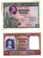 Lote De 2 Billetes De 500 Pesetas - Circulado - 500 Pesetas