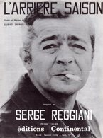 SERGE REGGIANI - PARTITION L'ARRIERE SAISON - 1970 - EXCELLENT ETAT - - Musique & Instruments