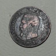 1855 - France - DEUX CENTIMES, NAPOLEON III, (B), Rouen, Ancre, Tête Nue, KM 776.2, Gad 103 - B. 2 Centimes