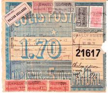 """CP 6, 17, 18, 23 Et 25 X 3 Sur Bulletin D'expédition """"valeur Déclarée"""" De Chailly-en-Brie à Chalon-sur-Saône  (1920) - Spoorwegzegels"""