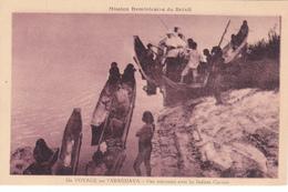 CPA BRESIL - Un Voyage Sur L'Araguaya - Une Rencontre Avec Les Indiens Carajas - Pirogues - Brazilië
