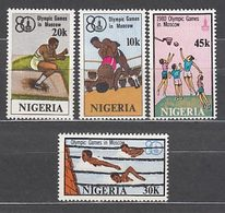 Nigeria - Correo Yvert 376/9 ** Mnh   Olimpiadas De Moscu - Nigeria (1961-...)