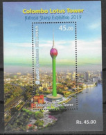 SRI LANKA, 2019, MNH,  TOWERS, COLOMBO LOTUS TOWER, CITY PANORAMIC VIEW, OVEPRPRINTED FOR NATIONAL STAMP EXHIBIITION SS - Architecture