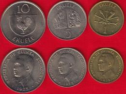 Equatorial Guinea Set Of 3 Coins: 1 - 10 Ekuele 1975 Km#32,33,34 XF-AU - Guinea Ecuatorial
