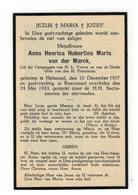Roermond (Nl) Doodsprentje Anna Henrica Hubertina Maria Van Der Marck 1933 - Godsdienst & Esoterisme