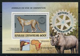 RC 14955 REP CENTRAFRICAINE GEPARD RHINOCEROS ANIMAUX EN VOIE DE DISPARITION ROTARY BLOC FEUILLET NEUF ** MNH TB - Central African Republic