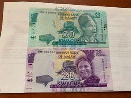 Malawi 20 And 50 Kwacha Unc. Banknotes - Malawi