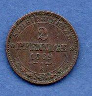 Saxe  --  2 Pfennige 1869 B  -- Km # 1217 -  état  TTB  -  Un Coup Tranche - [ 1] …-1871 : Estados Alemanes