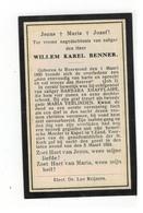 Roermond (Nl) Geboren Doodsprentje WILLEM KAREL BENNER 1924 - Godsdienst & Esoterisme