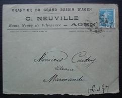 Agen 1925 (Lot-et-Garonne) C. Neuville Chantier Du Grand Bassin D'Agen, Route Neuve De Villeneuve, Pour Marmande - 1921-1960: Période Moderne