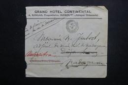 CÔTE DES SOMALIS - Enveloppe Du Grand Hôtel Continental Pour Diego Suarez Et Redirigé 2 Fois En 1913 - L 49668 - Lettres & Documents
