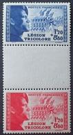 DF40266/992 - 1942 -  POUR LA LEGION TRICOLORE - N°565-566a TIMBRES NEUFS** PAIRE Avec INTERVALLE Impr. En Relief - France