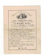 BERGEIJK (Nl)  Doodsprentje ANNA WILHELMINA LOIX Echtgenoote V D Weledelen Geleerden Heer G.GRAUP 1844 - Godsdienst & Esoterisme