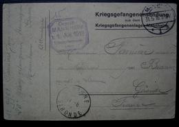 Mannheim 1916 Kriegsgefangenensendung Pour Farnière Meunier  Par Branne Gironde Chiffre 12 à L'arrière - Storia Postale