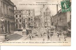 LOIRE SAINT ETIENNE L'IMMEUBLE DE 5 ETAGES DETRUIT RUES GERENTEL ET LA CROIX ANIMEE ECRITE - Saint Etienne