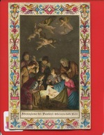 Belle CARTE CHROMO GAUFRÉE FRISE Adorazione Dei Pastori E Sborgi Florence St Germain Laye Religion - 1900-1949