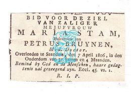 DP NL NH - Maria Stam / Kistemaker 37j. ° Purmerend 1768 † Zaandam 1806 X Dr. Med. Petrus Bruynen Bruijnen ° Asten 1764 - Images Religieuses