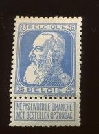 25c. Léopold II.  Grosse Barbe  Neuf AVEC Charnière   PLAKKERTJE     Cote 16,00 Euros - 1905 Barbas Largas