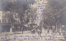 CARTE PHOTO 75 PARIS XIV  AVENUE ORLÉANS MANOEUVRES DE POMPIERS  DEVANT L ' HOTEL DE LA VALLIÈRE  ( Pompier ) - Arrondissement: 14