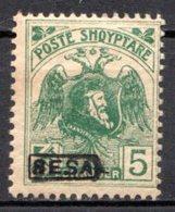 ALBANIE (Principauté) - 1921 - N° 115 - 5 Q. Vert - (Effigie De Scander-Beg Avec BESA En Surcharge) - Albanien