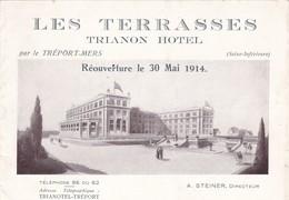 """76. LE TREPORT..LES TERRASSES  RARETÉ. DÉPLIANT PUBLICITAIRE DU """" TRIANON HOTEL """" POUR SA RÉOUVERTURE LE 30 MAI 1914 - Publicités"""