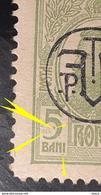 Errors  Romania 1918 King Charles I, 5bani Green ,with Spot Color On Box 5bani - Variedades Y Curiosidades