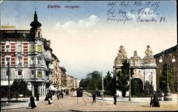 Cp Szczecin Stettin Pommern, Königstor, Straßenpartie - Pommern