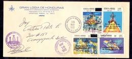 Honduras Masonic FDC With Signature, Error, Broken Compass, Freemasonry, Grand Lodge, Extremely Rare - Freemasonry