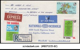 GAMBIA - 1977 AIR MAIL EXPRESS REGISTERED ENVELOPE TO USA WITH STAMPS - Gambia (1965-...)