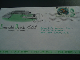 BAHAMAS  COVER EMERALD HOTEL FISHES OVERPRINT STAMPS - Fishes