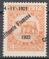 Fiume 1922 Sass.182k **/MNH VF/F - Fiume