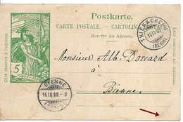 UPU 5 C Vert Entier Postal THIERACHERN BERN 14 IX 00, Pour BIENNE - Entiers Postaux