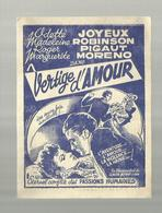 """-**JOYEUX  ROBINSON PIGAUT MORENO Dans """"""""VERTIGE  D'AMOUR""""""""- Cinéma AVENIR PALACE -PERUWELZ - Pubblicitari"""