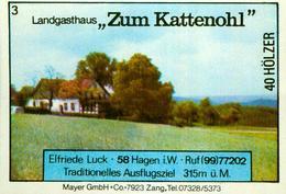 1 Altes Gasthausetikett, Landgasthaus Zum Kattenohl, Elfriede Luck, 5800 Hagen #232 - Matchbox Labels