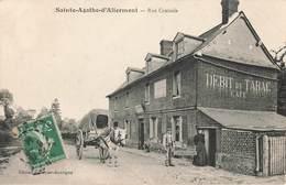76 Ste Sainte Agathe D' Aliermont Rue Centrale Débit De Tabac Café Fournier Boutigny Cpa Carte Animée - France