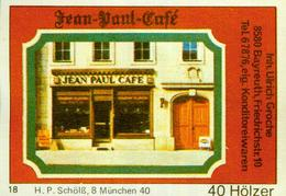 1 Altes Gasthausetikett, Jean-Paul-Café, Inh. Ulrich Groche, 8580 Bayreuth, Friedrichstr. 10 #235 - Matchbox Labels