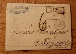 Brief Mit Inhalt Wilhelm Silbergleit & Co. Breslau 1862 Nach Rheims - Prussia