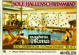 1 Altes Gasthausetikett, Parkhotel Kreuz, Sole-Hallenschwimmbad, Bad Dürrheim (Schwarzwald) #236 - Matchbox Labels