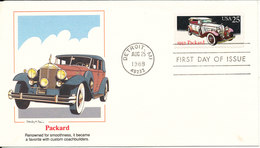 USA FDC Detroit 25-8-1988 Old Car Packard With Very Nice Cachet - 1981-1990
