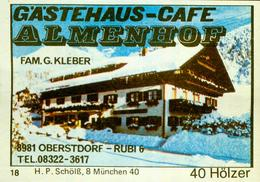 1 Altes Gasthausetikett, Gästehaus-Café Almenhof, Fam. G.Kleber, 8981 Oberstdorf, Rubi 6 #237 - Boites D'allumettes - Etiquettes