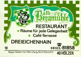 1 Altes Gasthausetikett, Restaurant Alte Bergmühle, Dreieichenhain #239 - Matchbox Labels