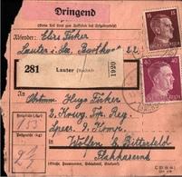 ! 1943  Paketkarte Deutsches Reich, Lauter In Sachsen, Wolfen - Allemagne