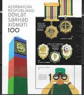 AZERBAIJAN, 2019, MNH, POLICE, BORDER PATROL, 100th ANNIVERSARY OF STAE BORDER SERVICE, SHEETLET - Police - Gendarmerie