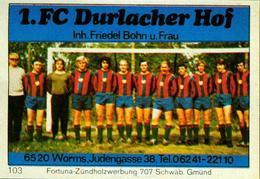 1 Altes Gasthausetikett, 1.FC Durlacher Hof, Inh. Friedel Bohn U. Frau, 6520 Worms, Judengasse 38 #240 - Matchbox Labels