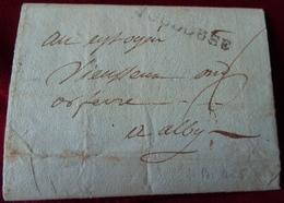 MARCOPHILIE LETTRE Du 24 BRUMAIRE AN 5 ,  De TOULOUSE ( Marque Linéaire Noire ) à ALBY ( ALBI TARN ) . 14 NOV. 1796 - Marcophilie (Lettres)