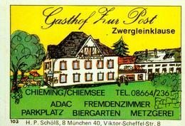 1 Altes Gasthausetikett, Gasthof Zur Post Zwergleinklause, Chieming/Chiemsee #241 - Matchbox Labels