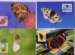 BUTTERFLIES  - LIECHTENSTEIN - 2009- BUTTERFLIES SET OF 4 MAXI CARDS  STAMPS ALONE CAT 17 - Butterflies